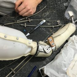 parts of an almost built prosthetic