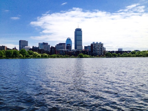 a picture of the Boston skyline from the water