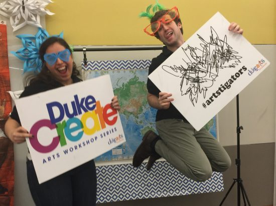 Michael (Independent Project '15) and Lina (USA - Tucson '15) help #artstigators liven up the photo booth at our spring Back at Duke Breakfast.