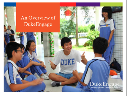 Opening slide of parents presentation shows DukeEngage participant sitting in circle with middle school students