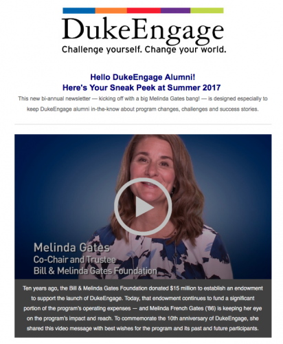 Screenshot of Spring 2017 DukeEngage Alumni Newsletter showing Melinda Gates video