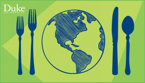 drawing of earth between forks and other silverware looks like a dinner plate