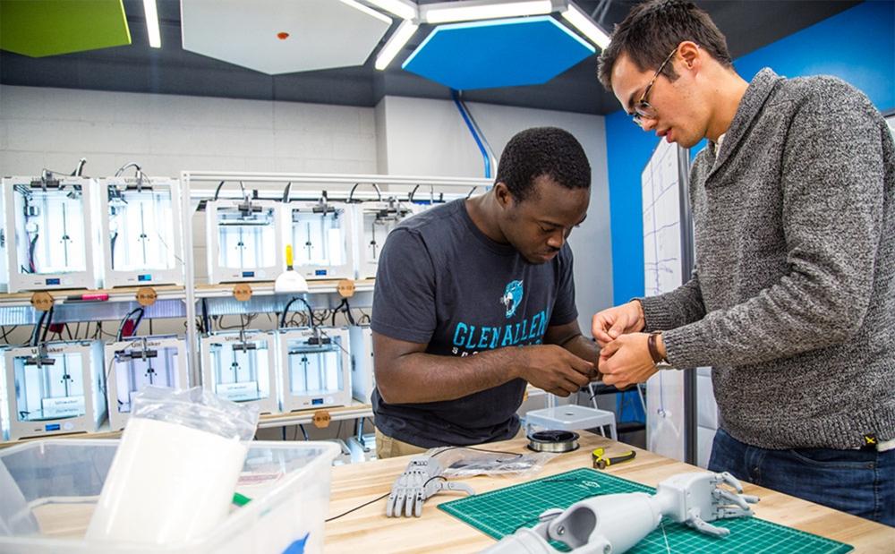 DukeEngage students working on prosthetic tools