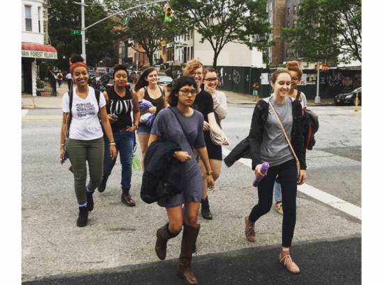 The 2016 New York team crossing a street