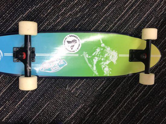The bottom of a skateboard