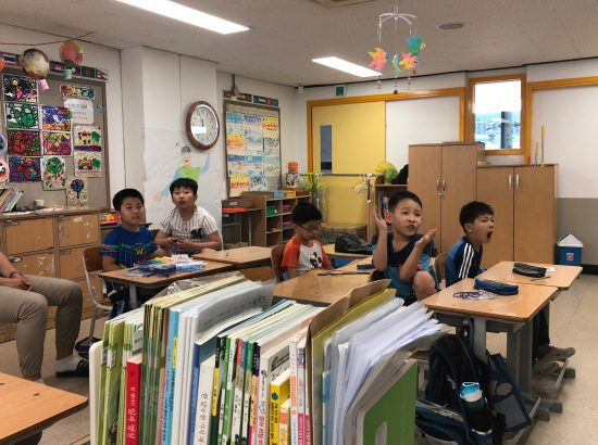 Young students seated in a classroom