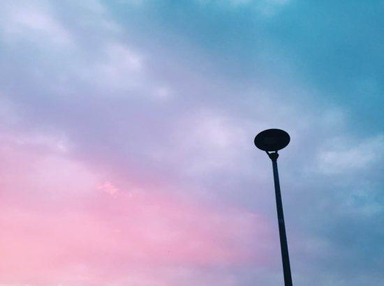Light pole in sunset