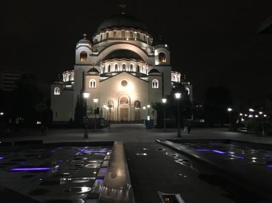 Large church at night.
