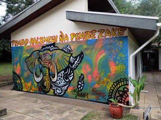 A mural of an elephant