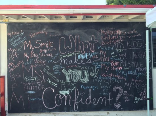 A chalkboard at Girls Inc. in Orange County CA
