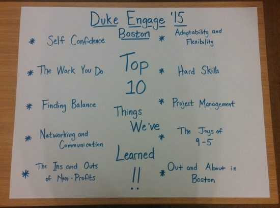 A list of the top ten things learned during the DukeEngage Boston program