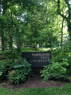 The sign for Portland State University