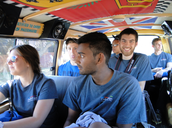 Students inside a bus