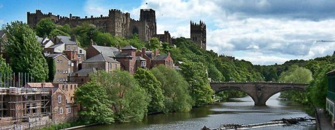 Landscape of Durham, UK from across a body of water