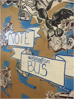 Art promoting the Washington Bus