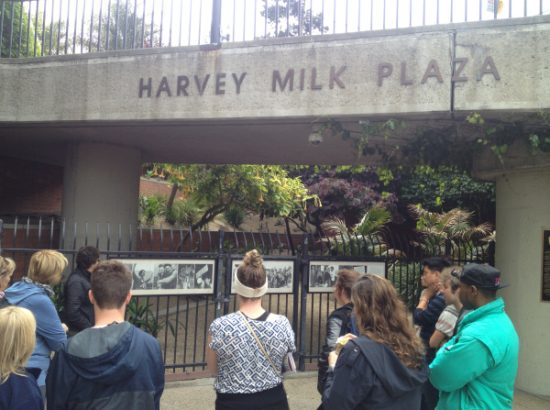 Students in Harvey Milk Plaza