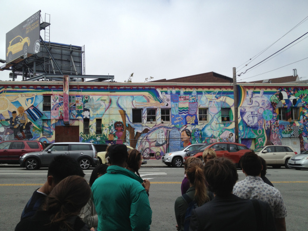 Students walking past the murals in the Castro District in San Francisco