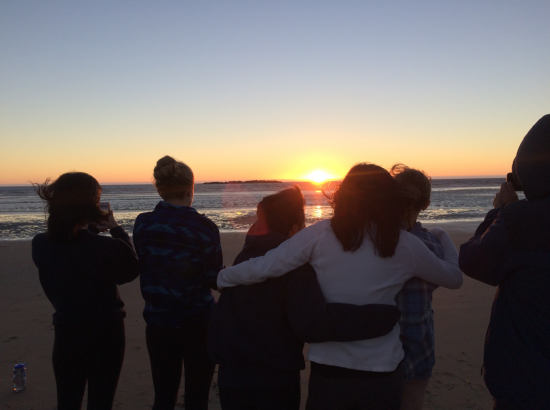 Students watching the sunset