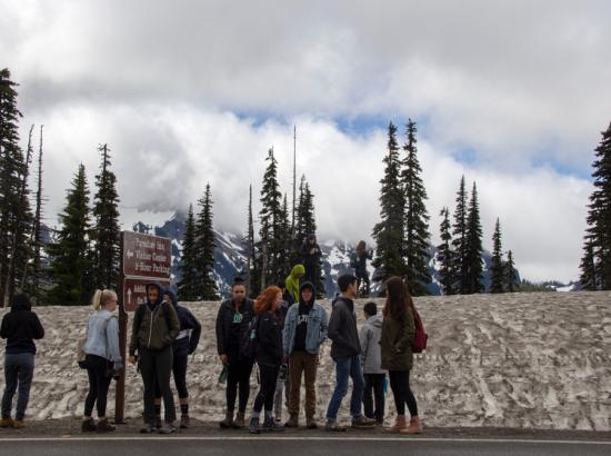 Students at mountain base