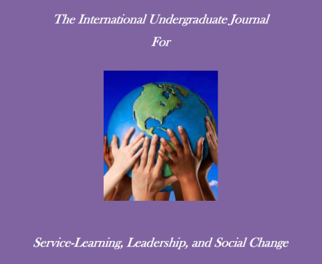 "Journal Cover. Text reads ""International Undergraduate Journal for Service-Learning, Leadership, and Social Change"""