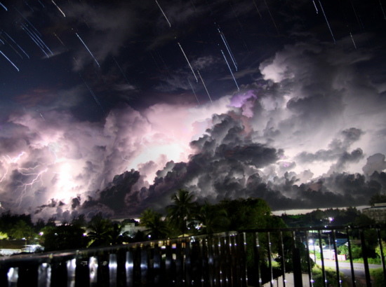 Time lapse photo of lightening storm at night