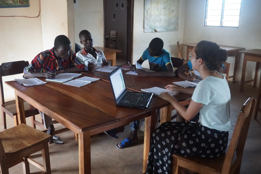 DukeEngage student teaching a writing class in Togo