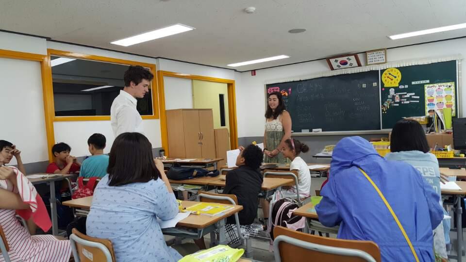 DukeEngage students teaching in South Korea