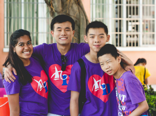Group of students in matching shirts