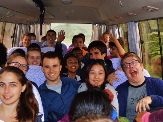 Students seated on a bus