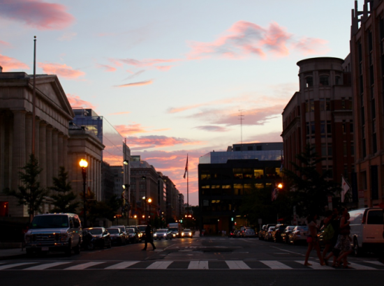 View of street and buildings during sunset