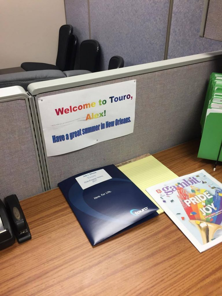 welcome sign on desk in office