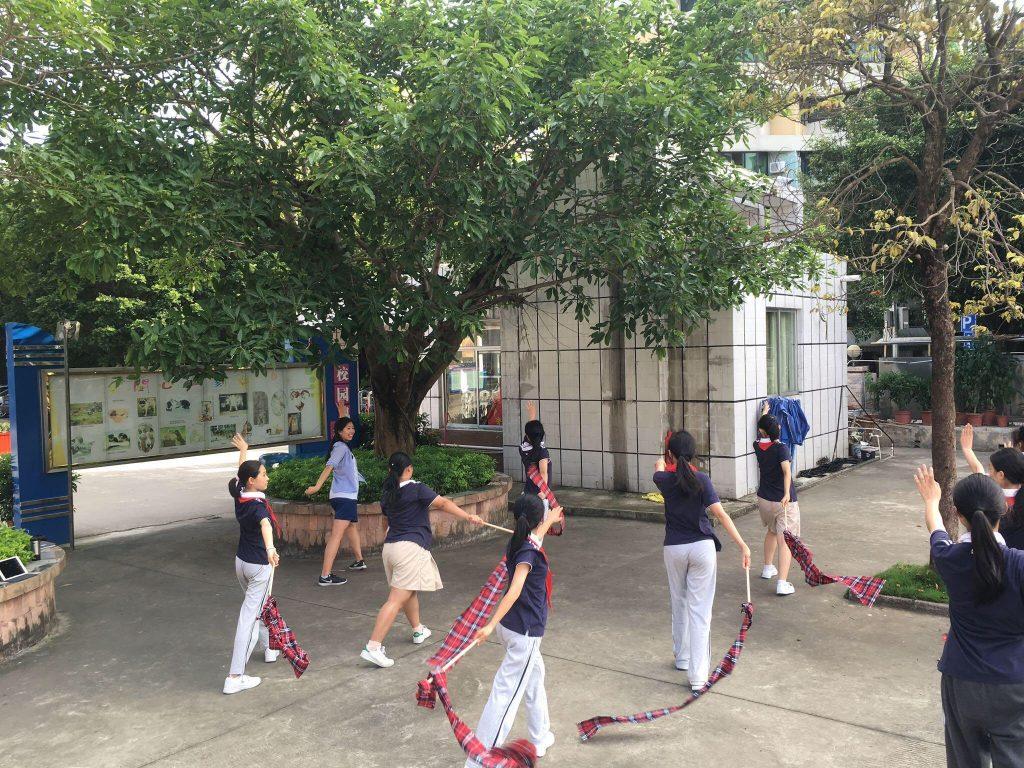 School children outside