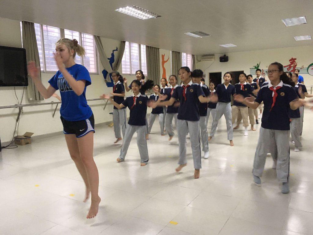 DukeEngage student leading a dance class