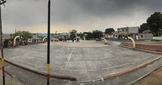 A panoramic of a playground