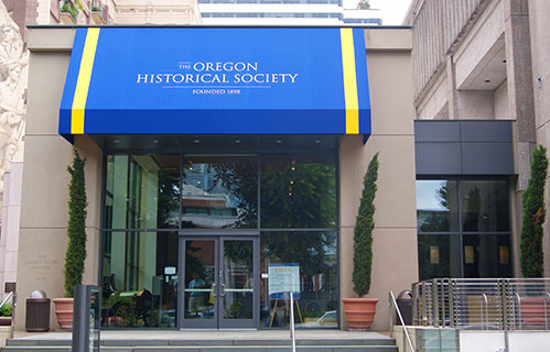 front of building with sign, Portland Historical Society