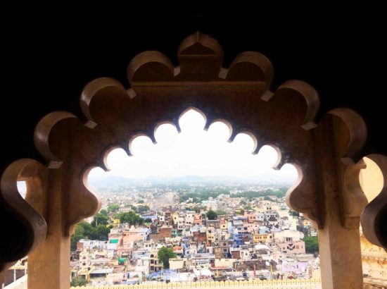 looking out an intricately carved window over the rooftops of a city