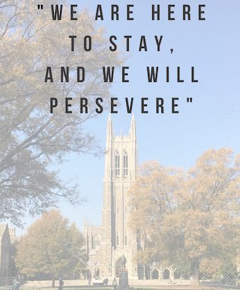 A quote on top of a picture of the Duke Chapel
