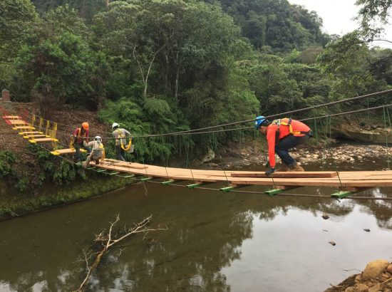 Four people working on the construction of a bridge.