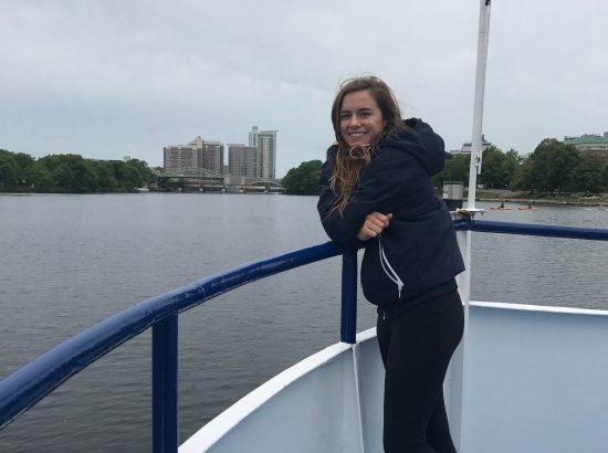 Chloe McGlynn on a boat