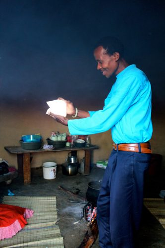 Man holding solar light