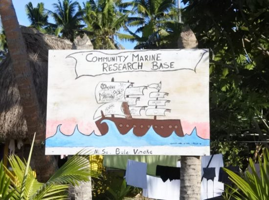 Sign for the Community Marine Research Base