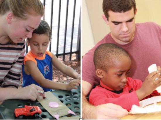 Right: man helps boy read. Left: Woman helps boy readby