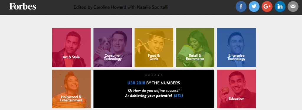 Screen shot of the landing page of the Forbes 30 Under 30 list on its website