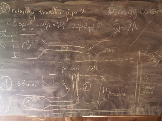 science diagrams and equations on chalkboard