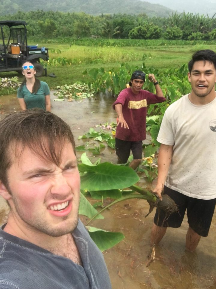 Part of the Aina team getting a little muddy at work. Photo by John Sittu