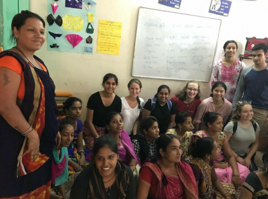 Meeting with the women of Saath's Urmila program, where they are trained to work as home managers.