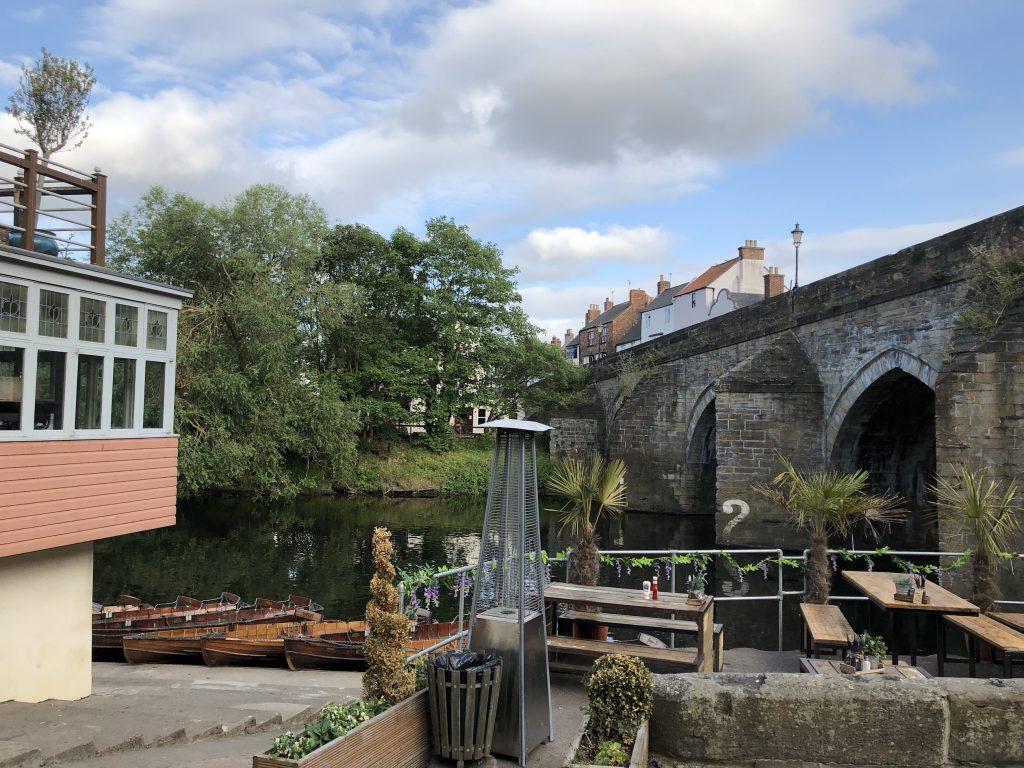 river with stone bridge