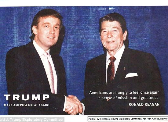 "Trump shakes hands with Ronald Reagan, who popularized the slogan ""Let's Make America Great Again"" during his 1980 presidential campaign."