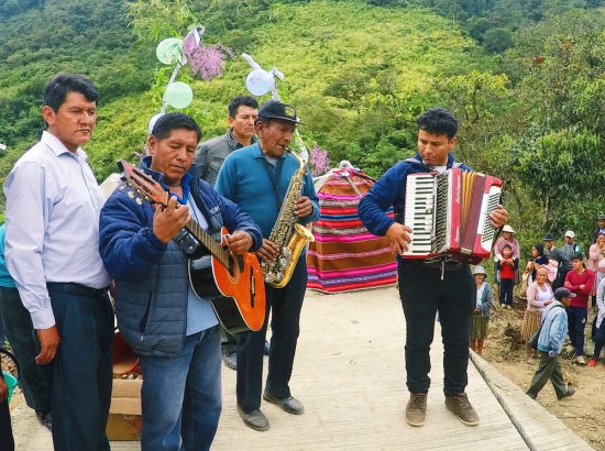 Band playing music outdoors