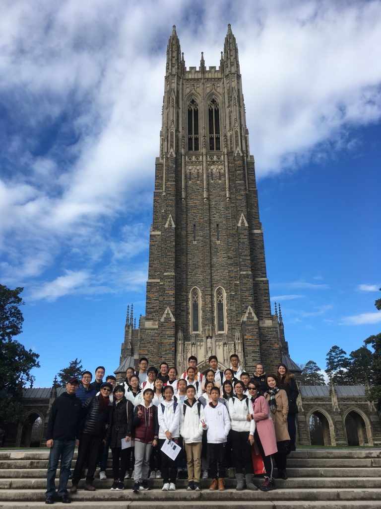 Students and chaperones from Zhuhai take a group photo outisde Duke Chapel